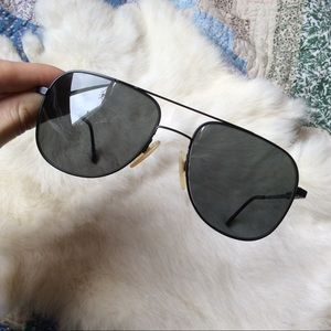 Luxotica Black Aviator Sunglasses Italy